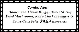 Combo App - Homemade Onion Rings, Cheese Sticks, Fried Mushrooms, Ken's Chicken Fingers & Cross-Trax Fries 9.49